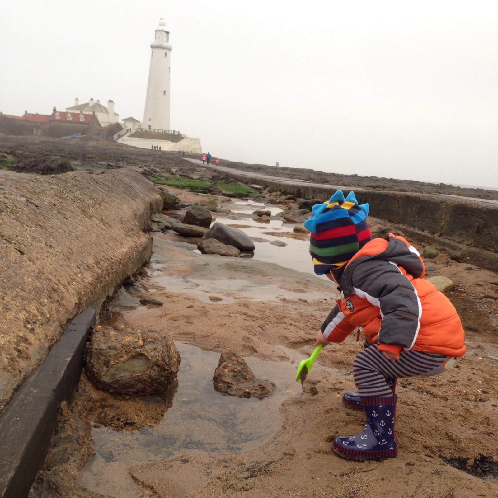 St Mary's Lighthouse for a play in the sand