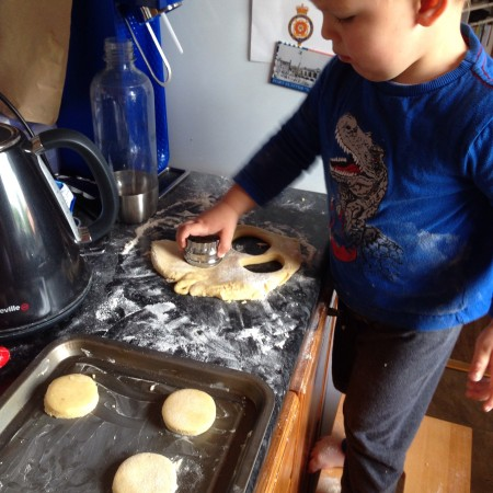 toddler activity baking biscuits