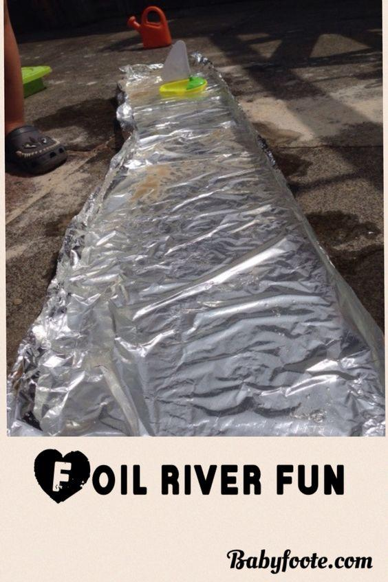 foil river summer fun for toddlers in the garden