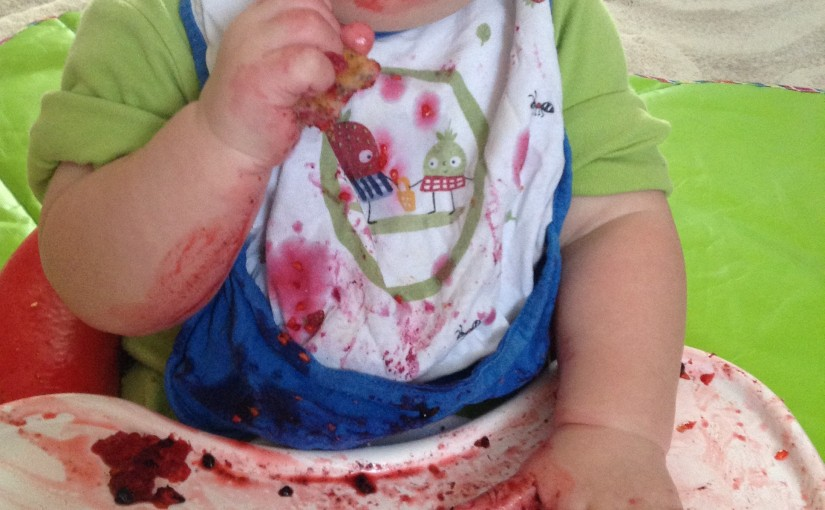 Messy baby led weaning