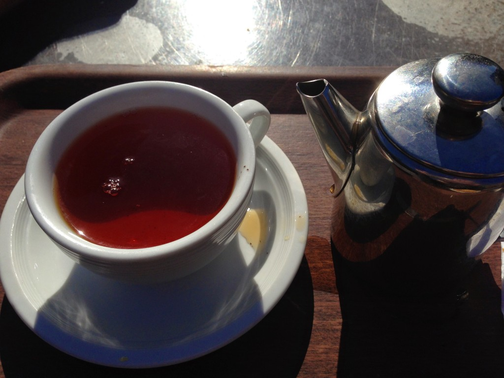 pot of tea in the cafe at the national slate museum in snowdonia