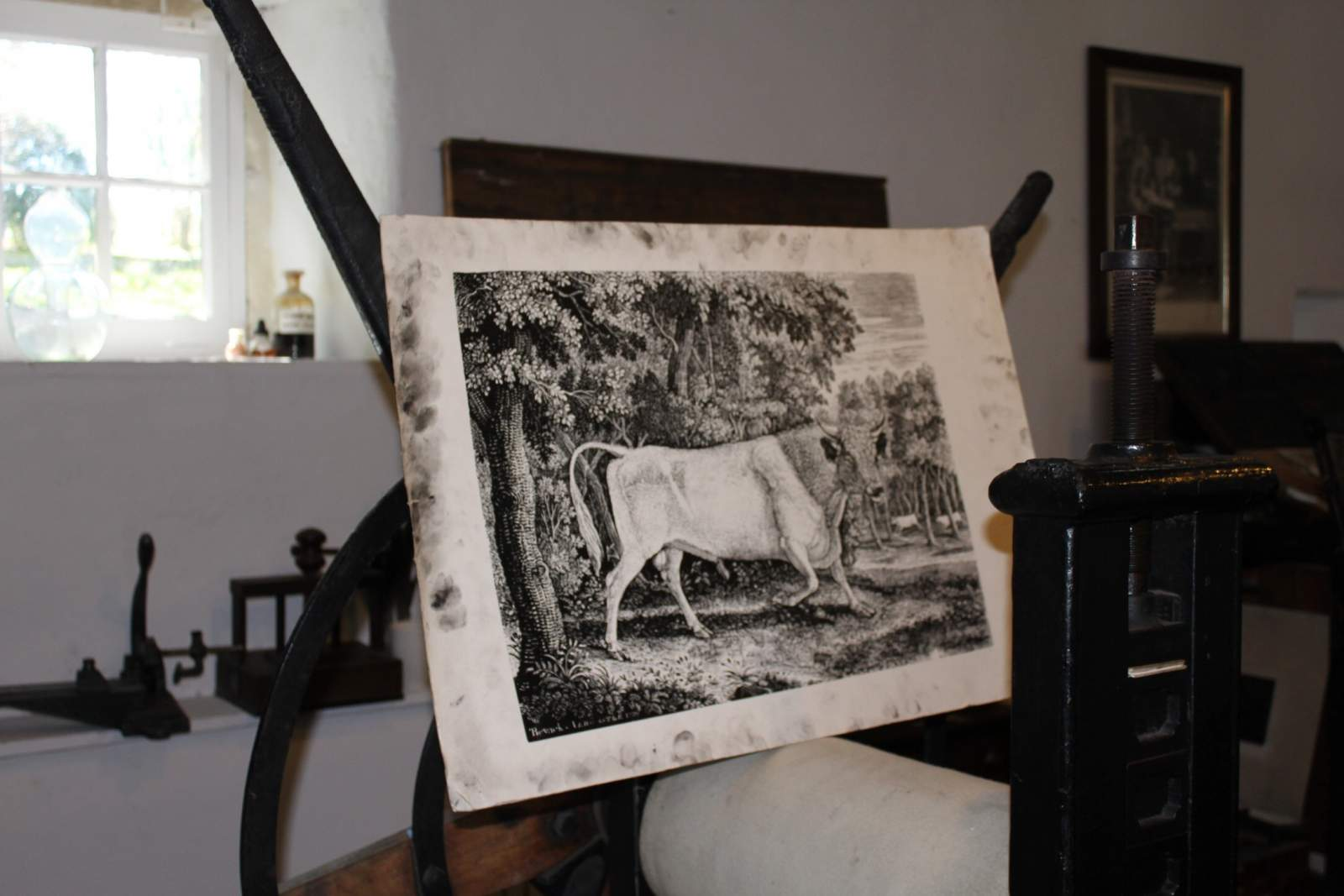 thomas bewick engraving printing demonstration at cherryburn