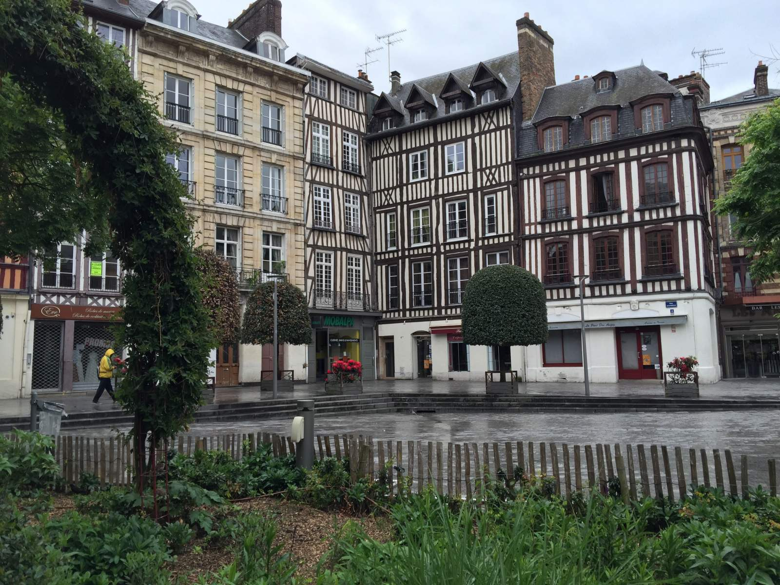 square of buildings wattle and daub rouen normandy france