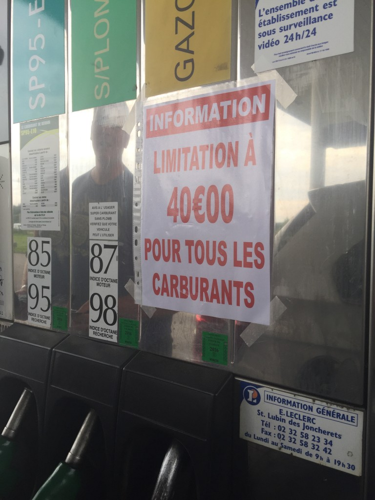 petrol rationing at forecourts in France during the fuel crisis