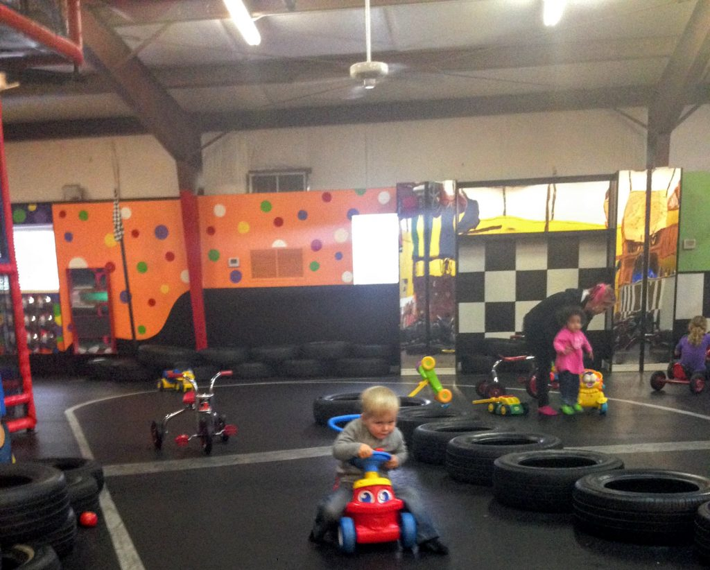James zooming down the race track at power of play in wilmington, north carolina