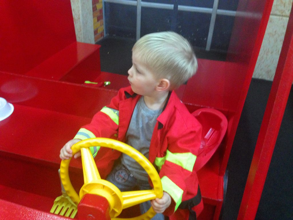 James loved the fire engine at power of play in wilmington north carolina, as he could dress up as a fire fighter and drive the fire engine!