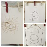 line drawings of a sunshine, a bird and a rocket by a 3 year old