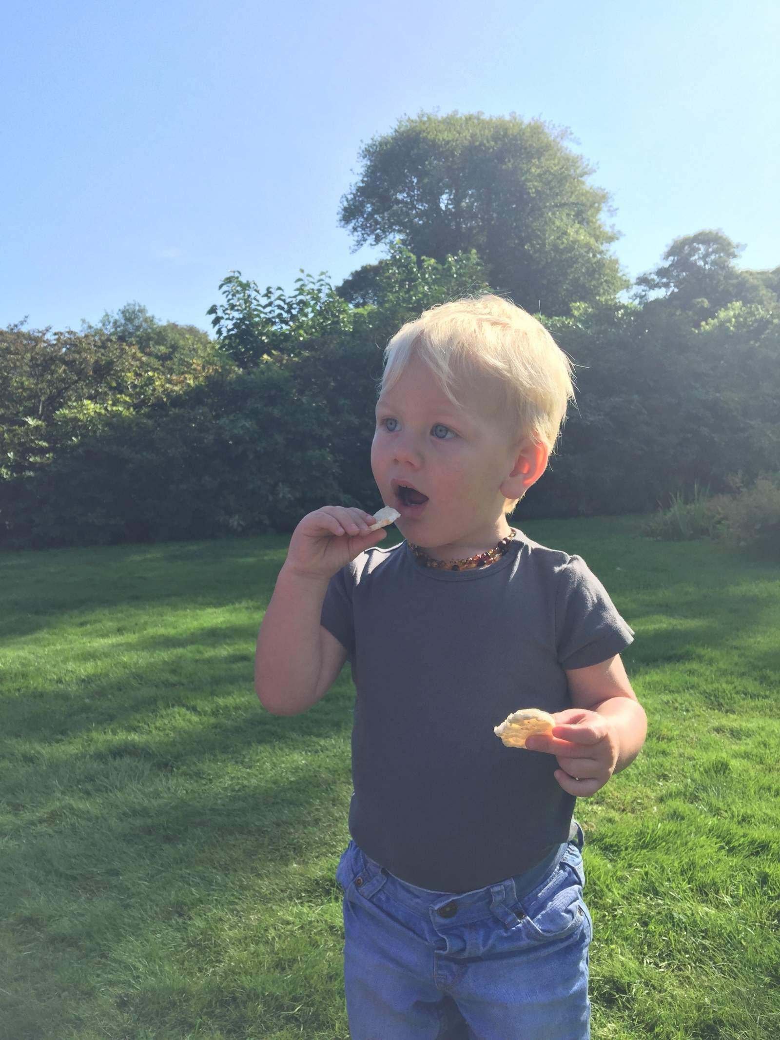 toddler eating rice cakes by Aldi Mamia during a day out at Seaton Delaval Hall