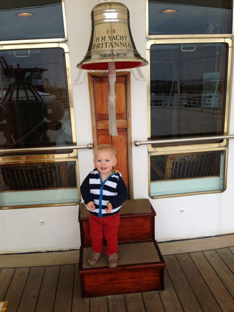Royal Yacht Britannia with a toddler