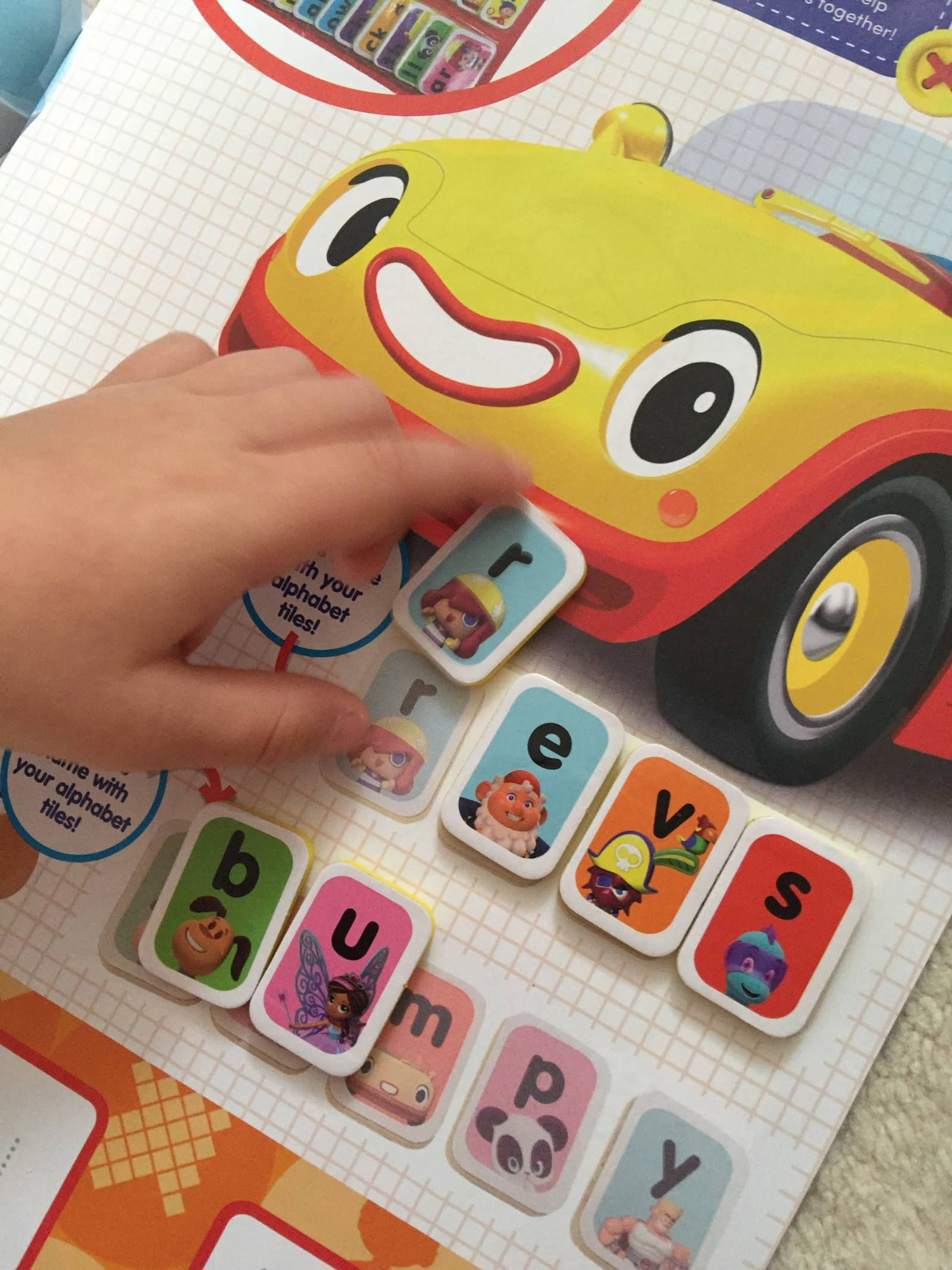 using the free gift alphabet tiles with Noddy magazine