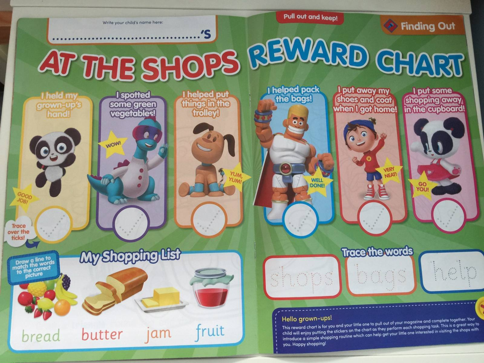 reward chart at the shops in Noddy magazine