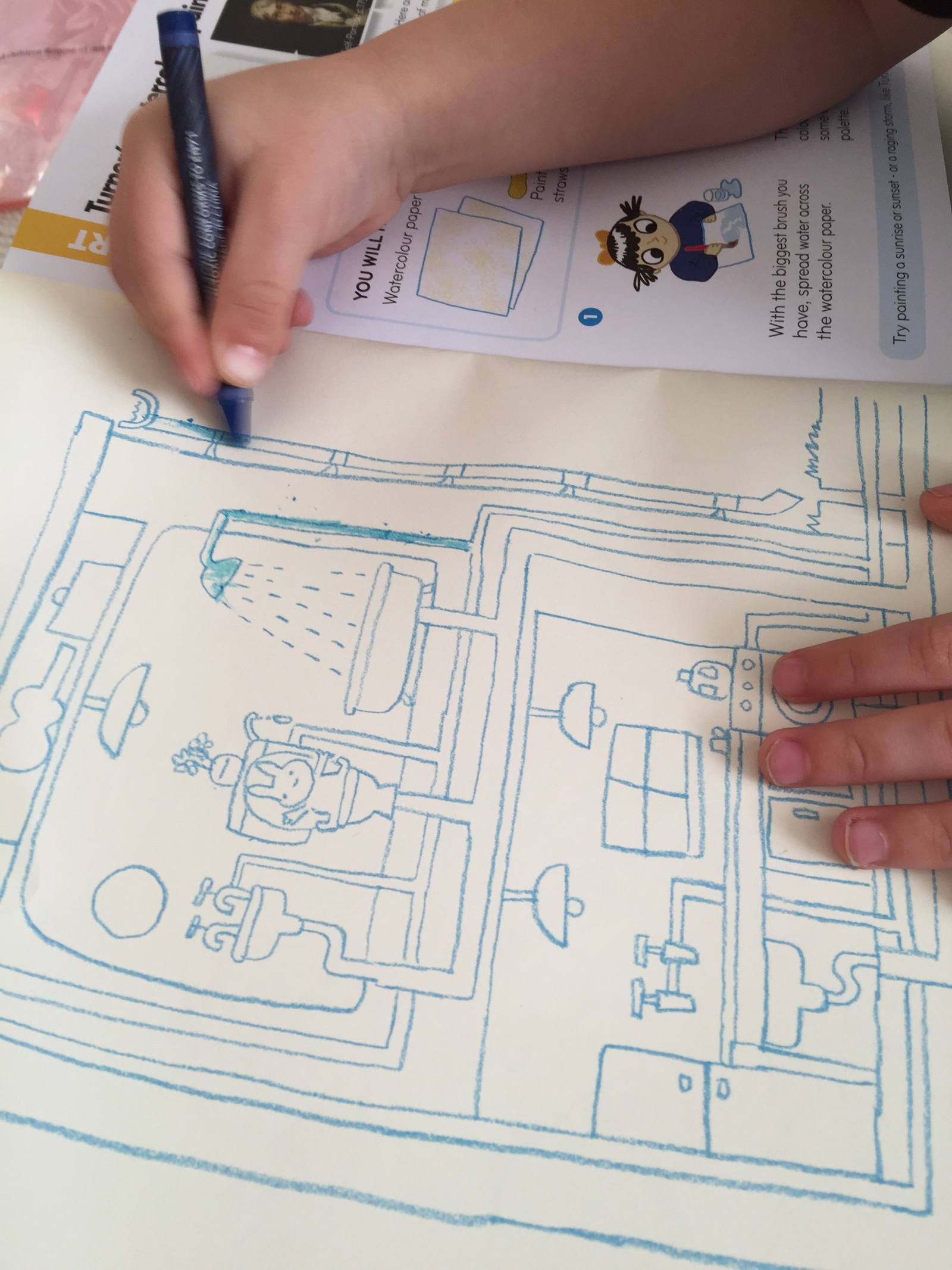 okido children's magazine issue with water includes a task to colour in the water pipes in the drawing of a house