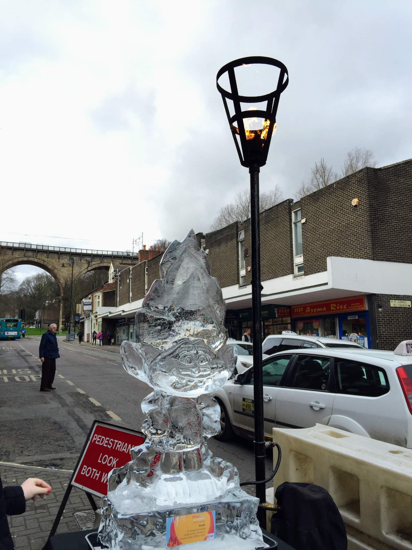 troll ice sculpture durham fire and ice 2017