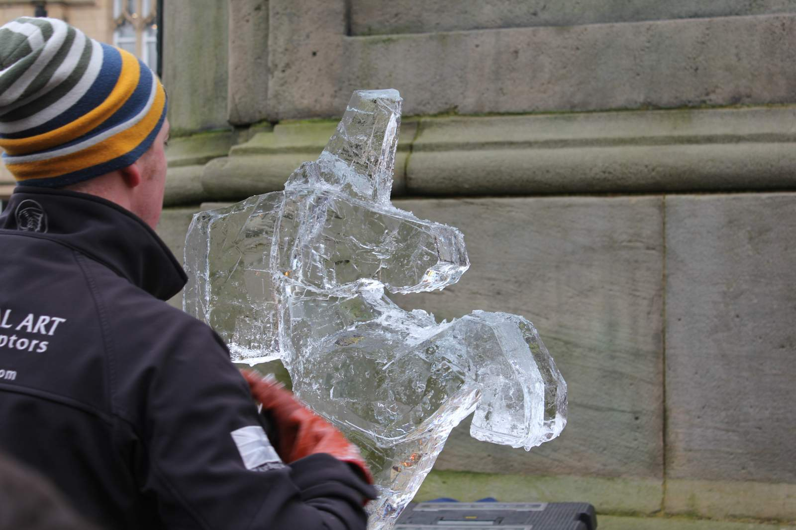unicorn ice sculpture durham fire and ice demonstration