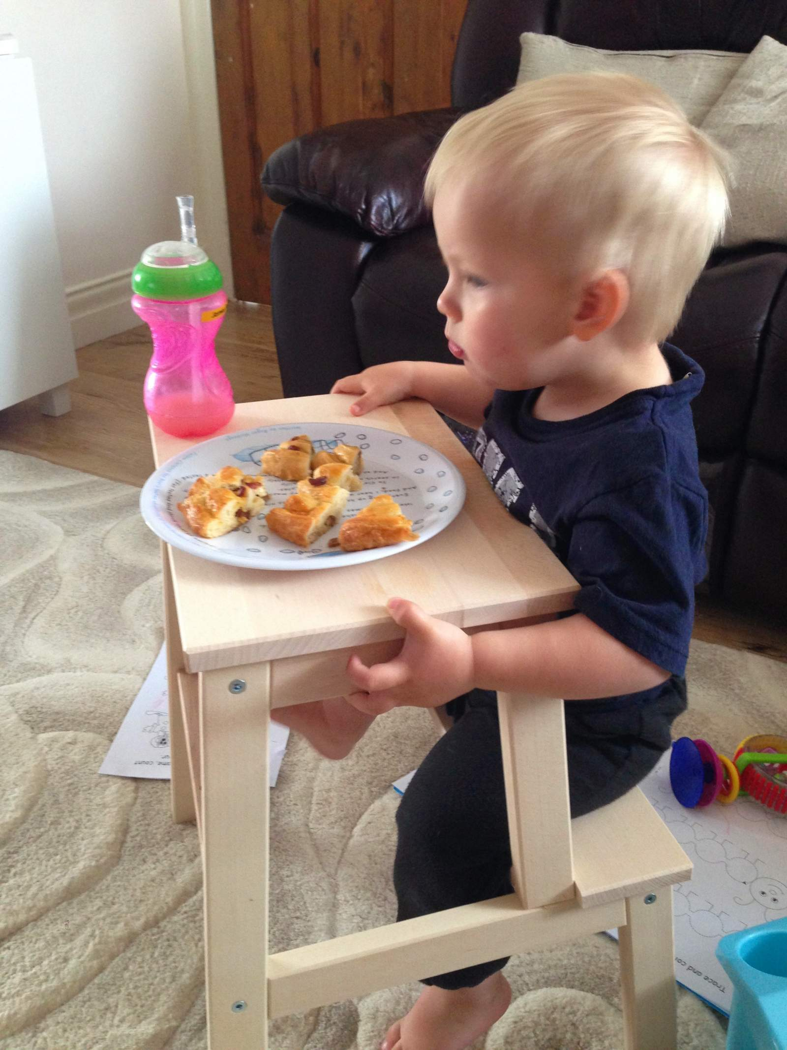 ikea step stool as table for toddler