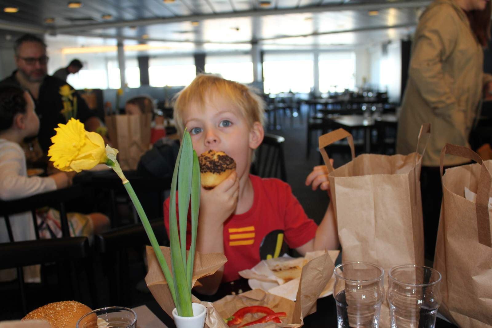 eating lunch on the dfds seaways king ferry