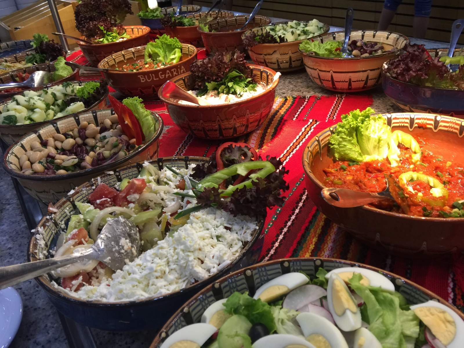 bulgarian speciality restaurant salad selection in hotel riu helios sunny beach bulgaria