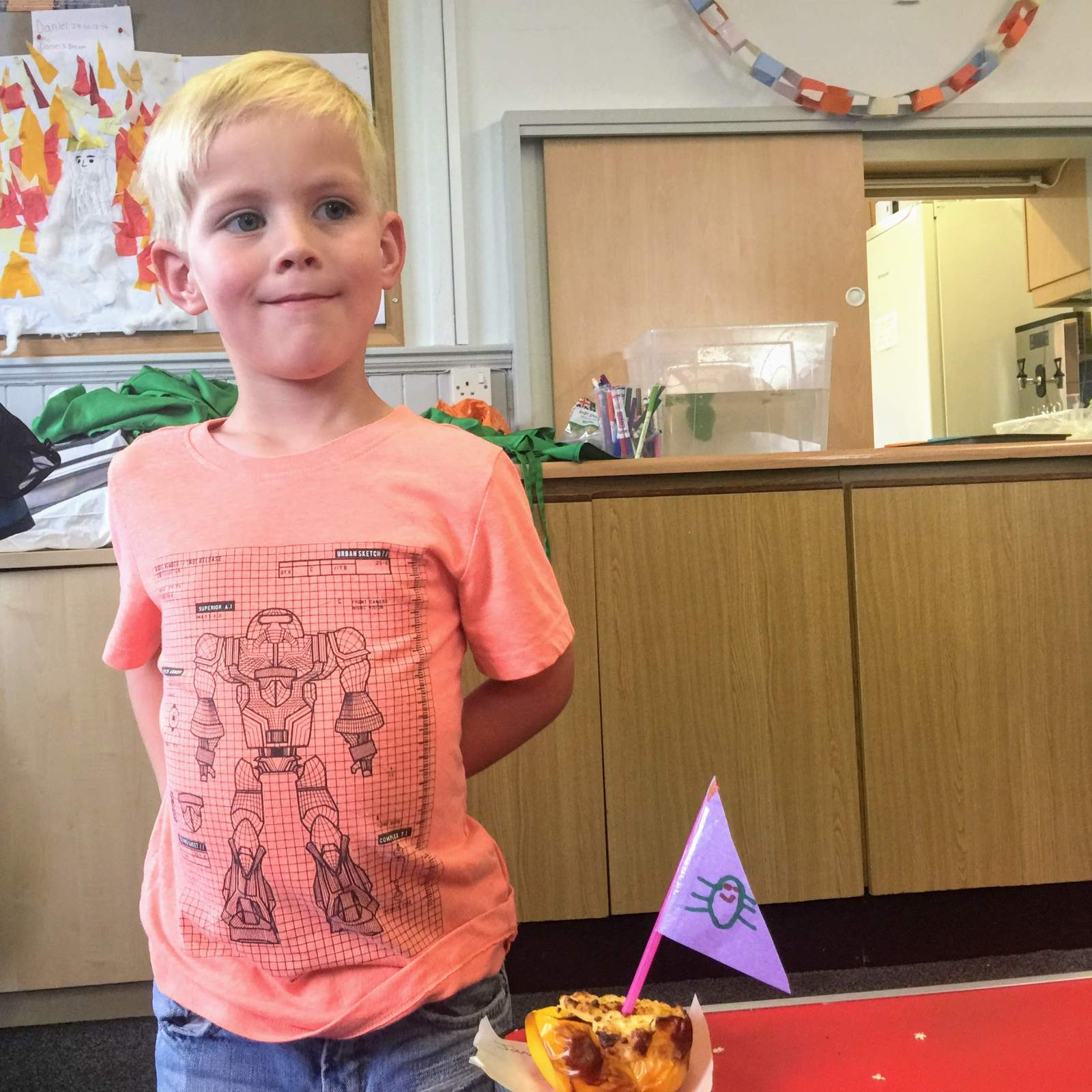 very proud of his cooking at fun little foodies class in monkseaton north tyneside near newcastle