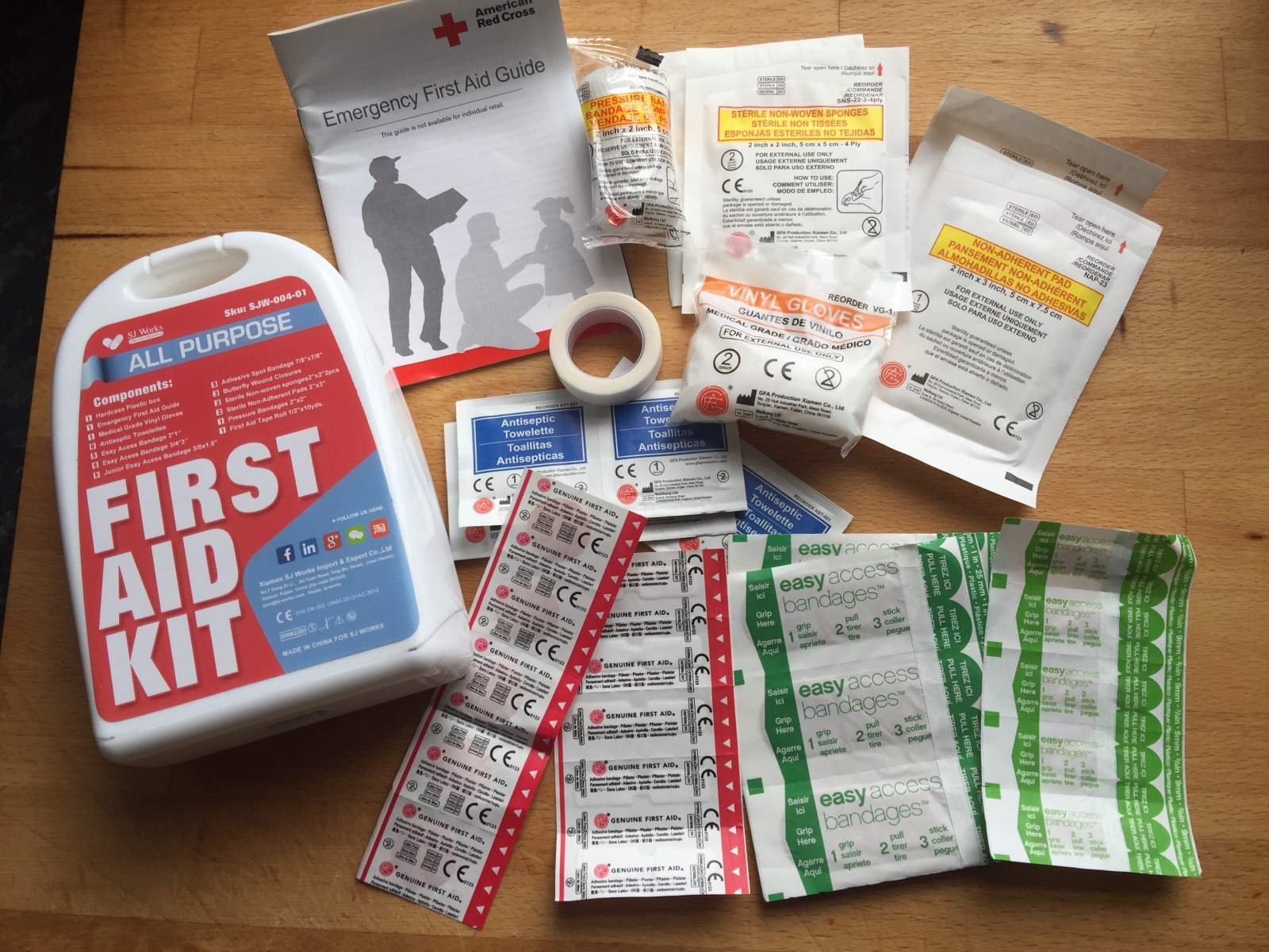 sj works first aid kit for days out with the kids contents