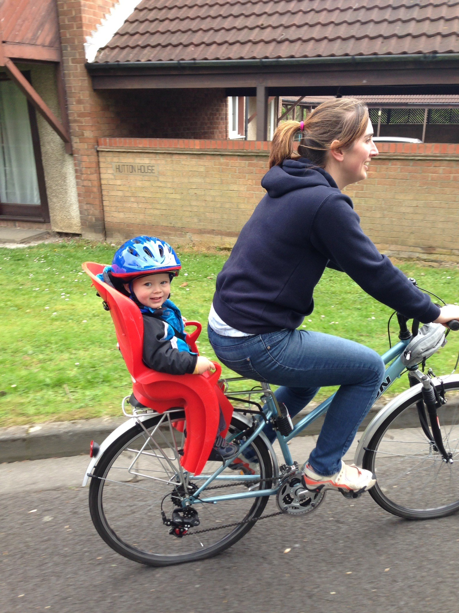 cycling with toddler in bike seat