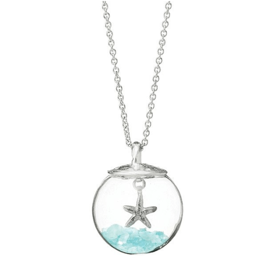 Glass Globe of Hope Necklace Wear a token of hope with this globe necklace, filled with semiprecious stones.