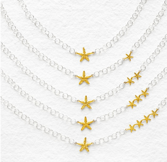 My Lucky Stars Necklace This ocean-inspired necklace represents mother and children through large and small gold starfish.