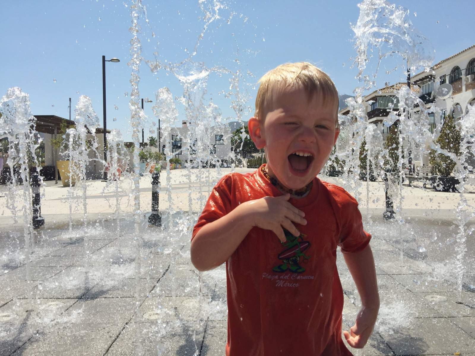 enjoying the fountains in benalmadena