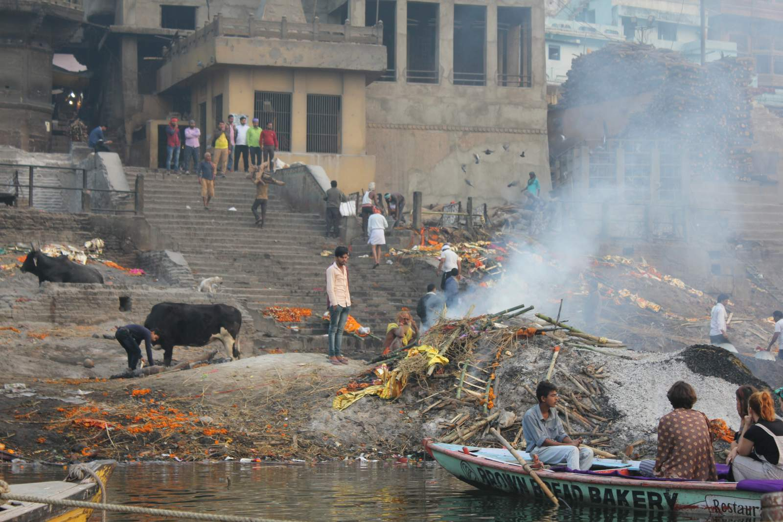 one of the two ghats used for cremation in varanasi
