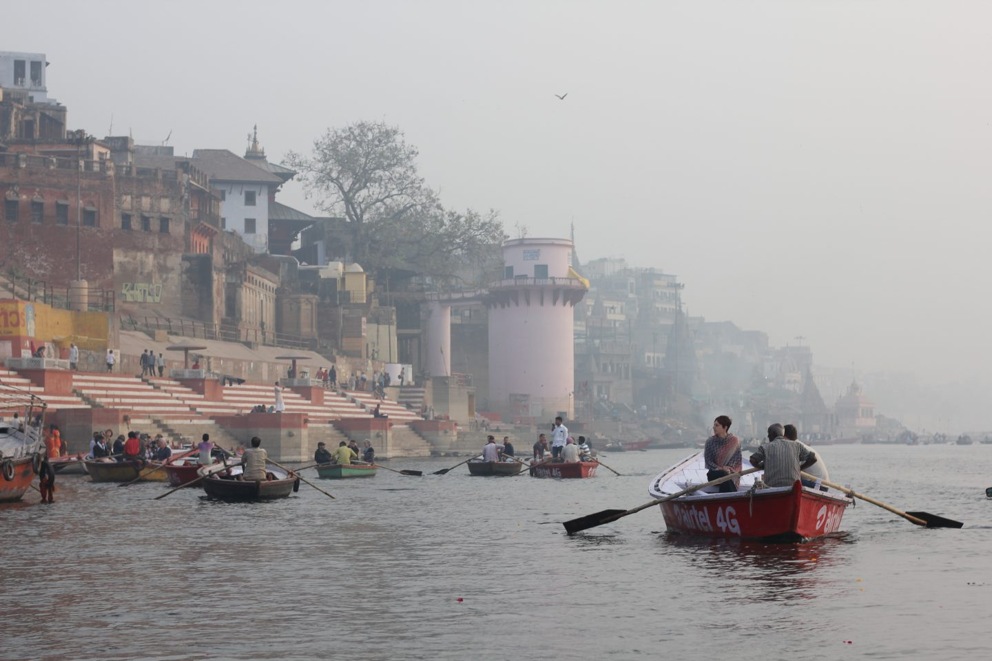 rowing boat on the ganges river early morning Varanasi in february 2018