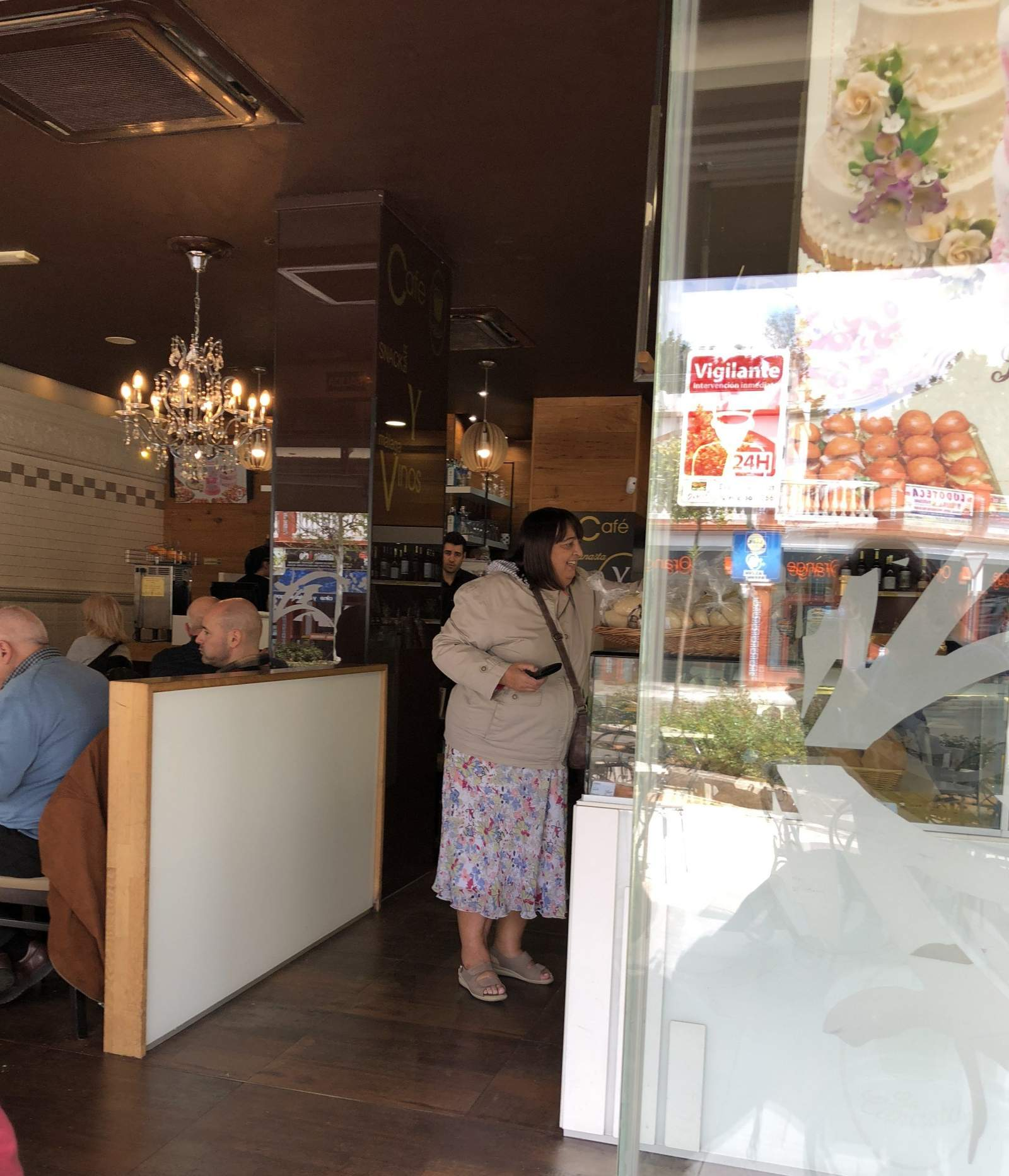 my mum buying bread from the bakery in Benalmadena