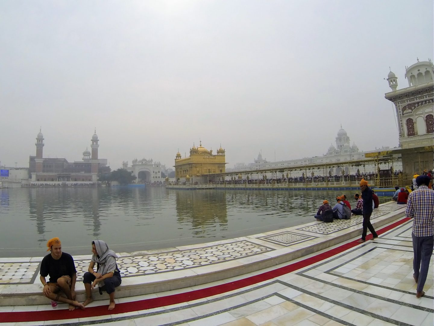 go pro photo of long queue into golden temple amritsar