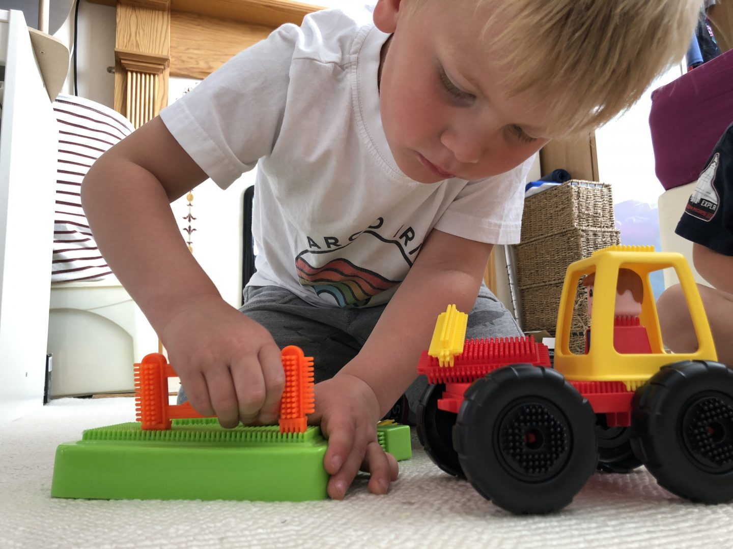 boy playing with stickle bricks farm