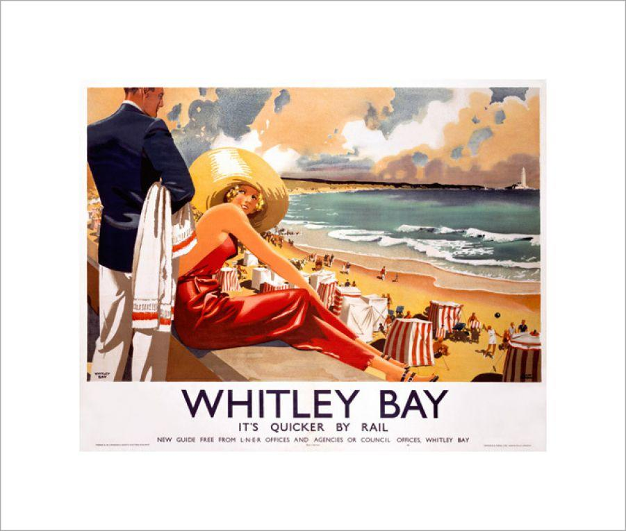 railway poster artwork whitley bay 30th anniversary gift idea