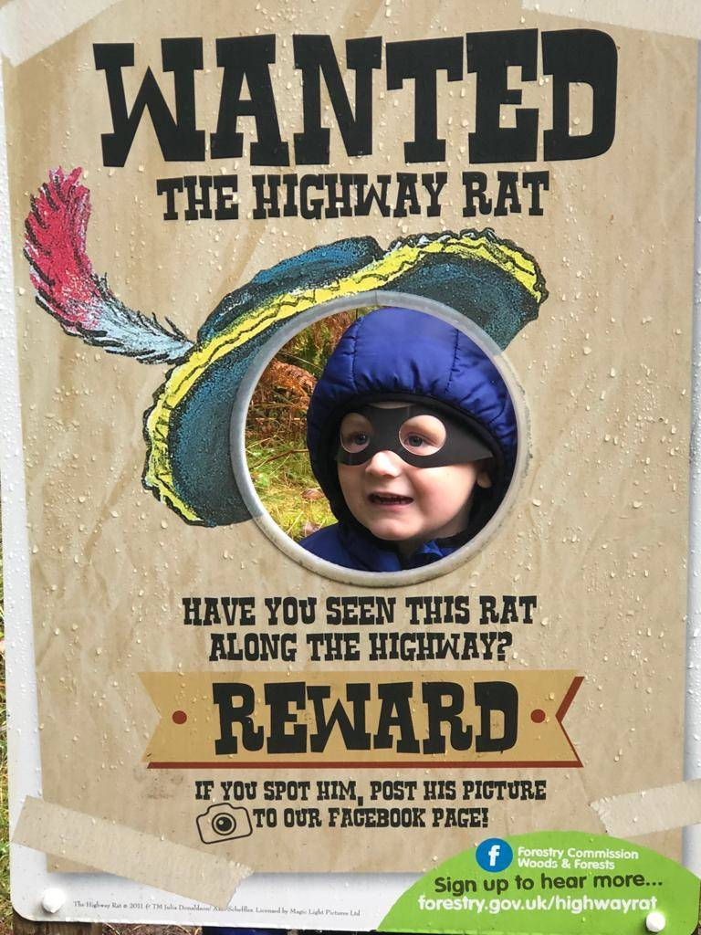 highway rat trail kielder forest boy with mask in wanted sign
