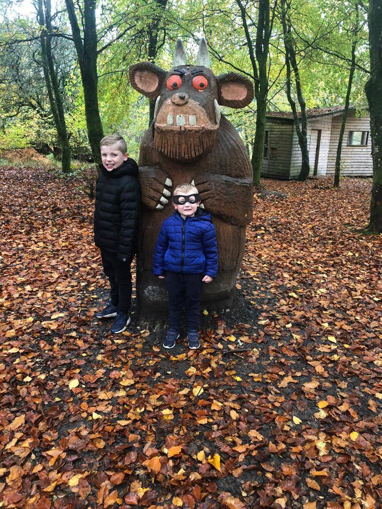 kielder highway rat trail two boys with gruffalo