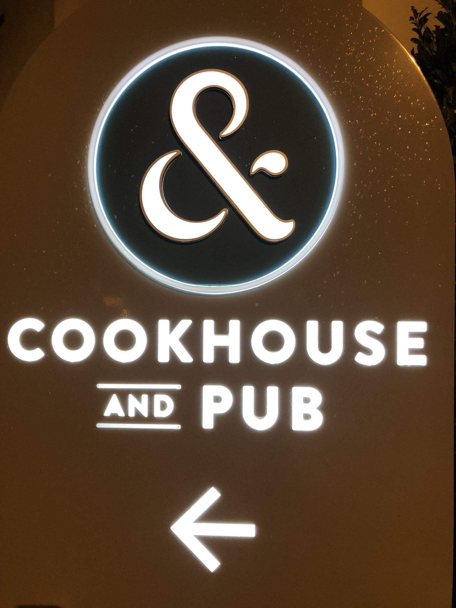 cookhouse and pub sign in the rain