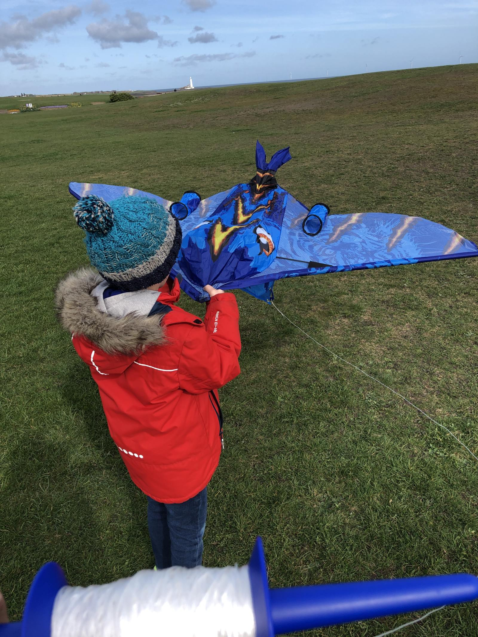 getting ready to send the kitedrone kite up in the air