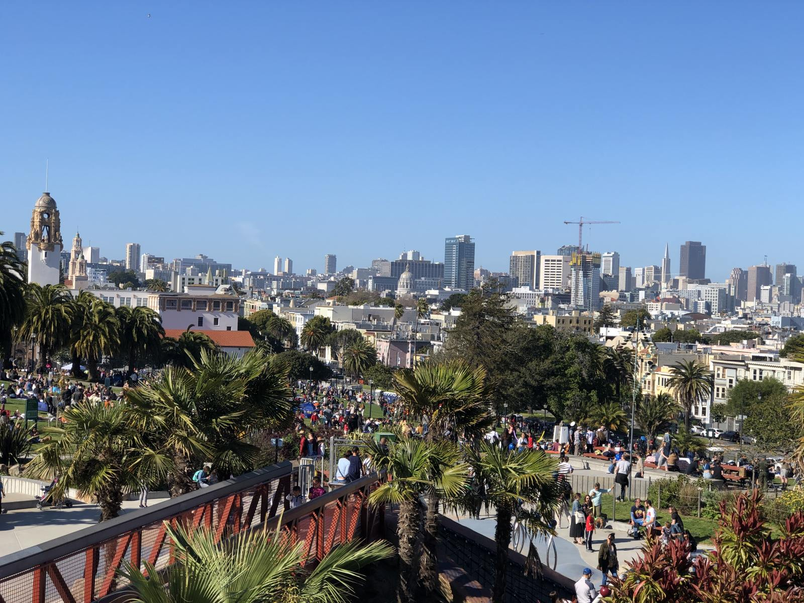 the view from the top of the slide in Dolores Park San Francisco